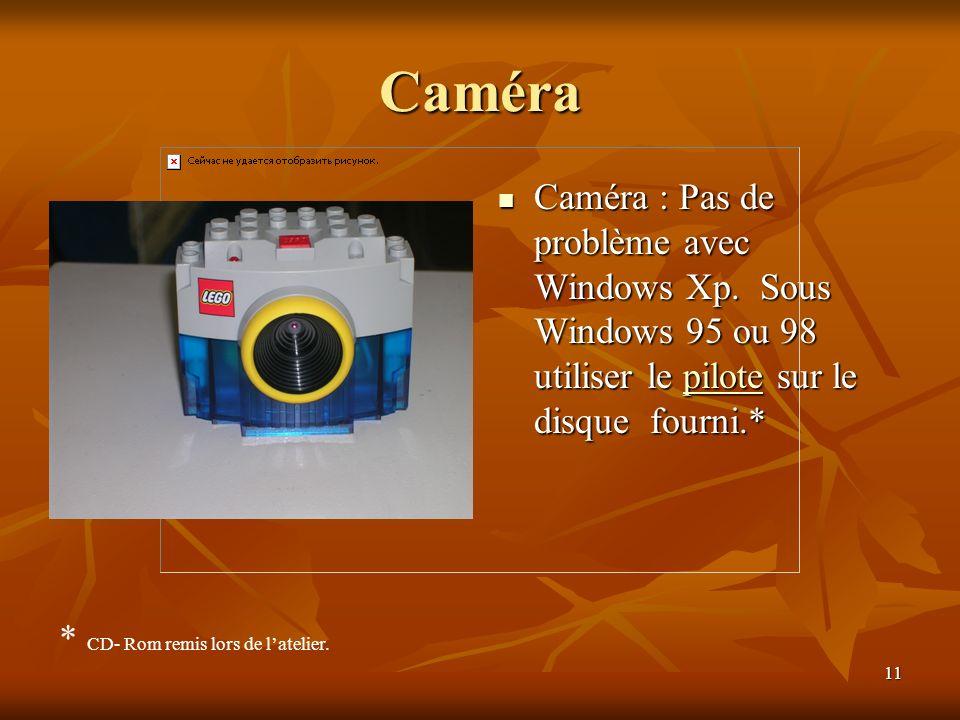 11 Caméra Caméra : Pas de problème avec Windows Xp. Sous Windows 95 ou 98 utiliser le pilote sur le disque fourni.* Caméra : Pas de problème avec Wind