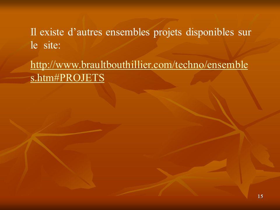 15 Il existe dautres ensembles projets disponibles sur le site: http://www.braultbouthillier.com/techno/ensemble s.htm#PROJETS