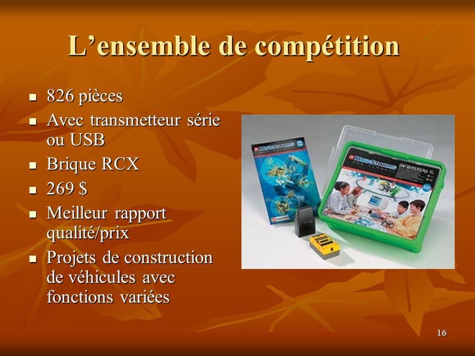 16 Lensemble de compétition Lensemble de compétition 826 pièces 826 pièces Avec transmetteur série ou USB Avec transmetteur série ou USB Brique RCX Br