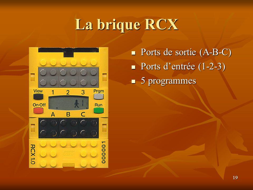 19 La brique RCX Ports de sortie (A-B-C) Ports de sortie (A-B-C) Ports dentrée (1-2-3) Ports dentrée (1-2-3) 5 programmes 5 programmes