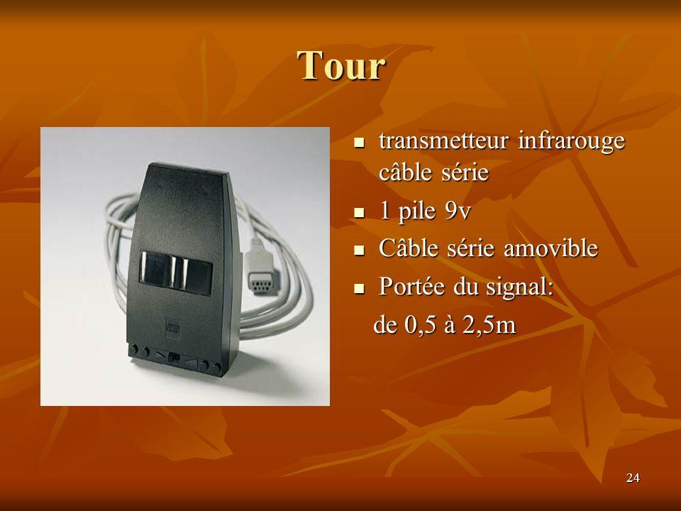24 Tour transmetteur infrarouge câble série transmetteur infrarouge câble série 1 pile 9v 1 pile 9v Câble série amovible Câble série amovible Portée d