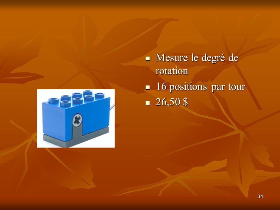 34 Mesure le degré de rotation Mesure le degré de rotation 16 positions par tour 16 positions par tour 26,50 $ 26,50 $