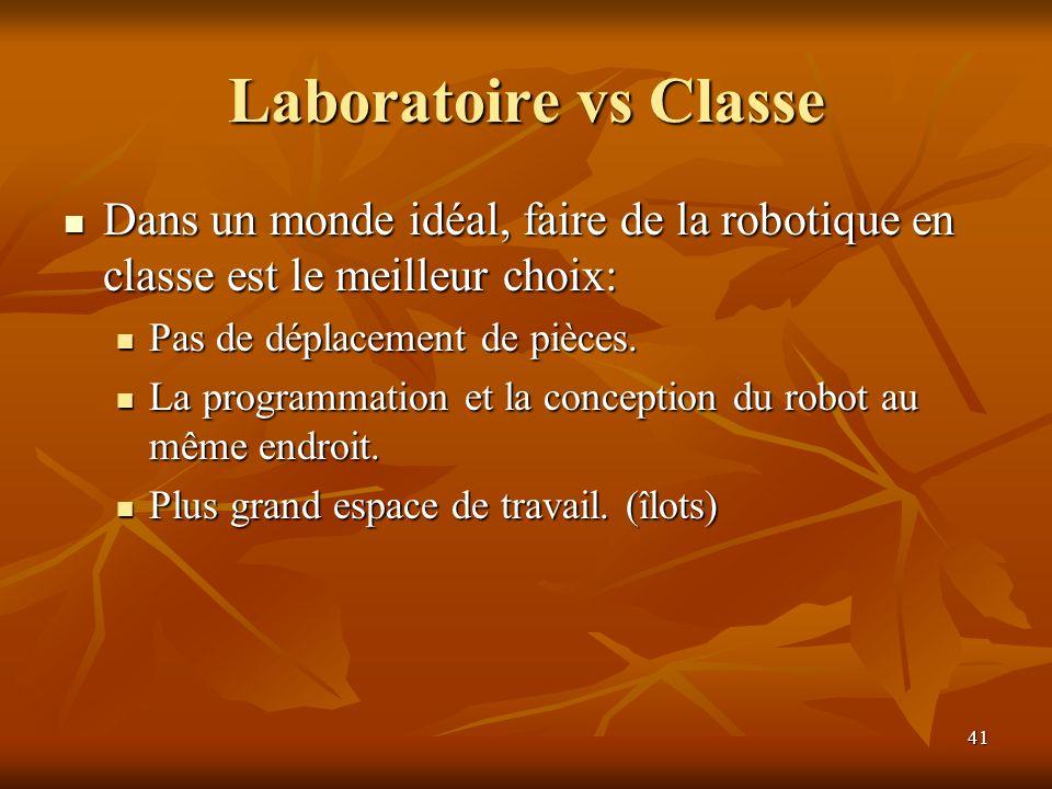 41 Laboratoire vs Classe Dans un monde idéal, faire de la robotique en classe est le meilleur choix: Dans un monde idéal, faire de la robotique en cla