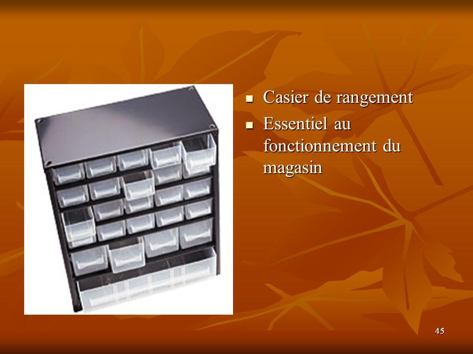 45 Casier de rangement Casier de rangement Essentiel au fonctionnement du magasin Essentiel au fonctionnement du magasin