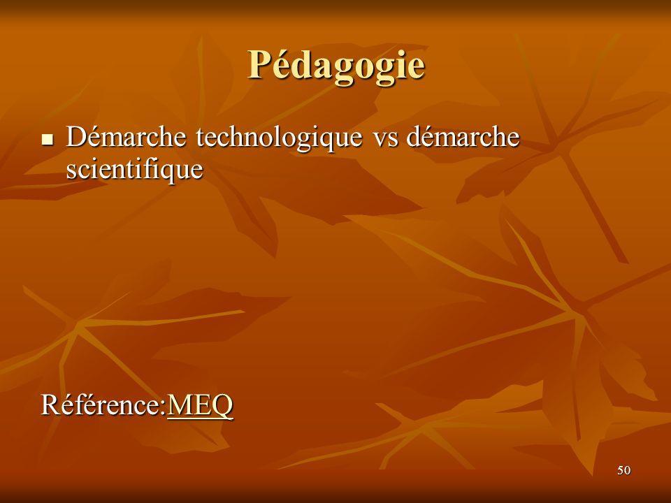 50 Pédagogie Démarche technologique vs démarche scientifique Démarche technologique vs démarche scientifique Référence:MEQ MEQ