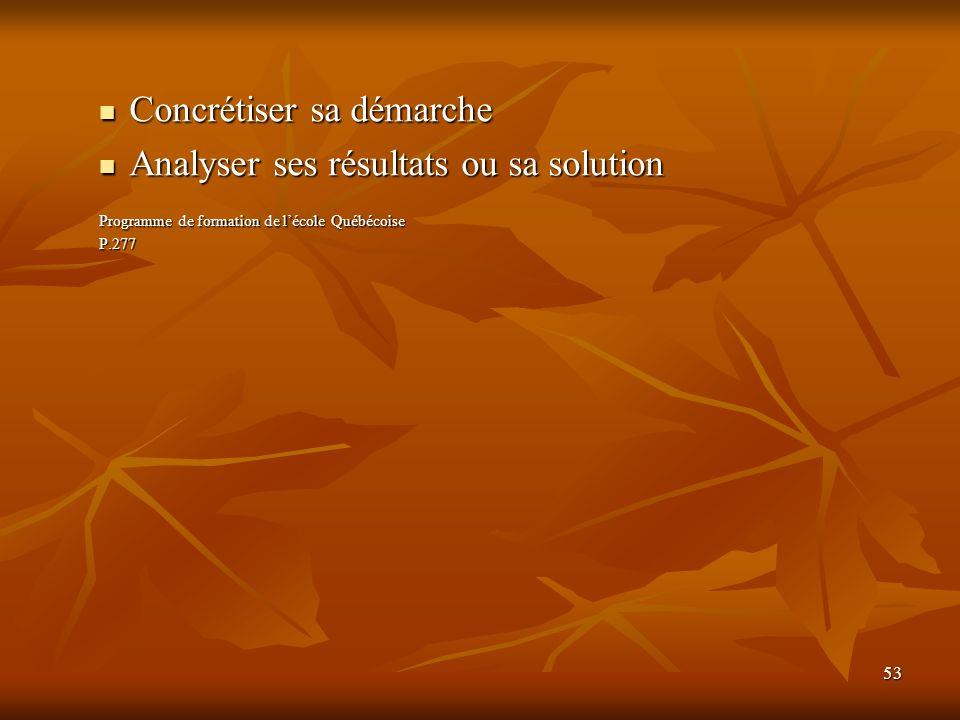 53 Concrétiser sa démarche Concrétiser sa démarche Analyser ses résultats ou sa solution Analyser ses résultats ou sa solution Programme de formation