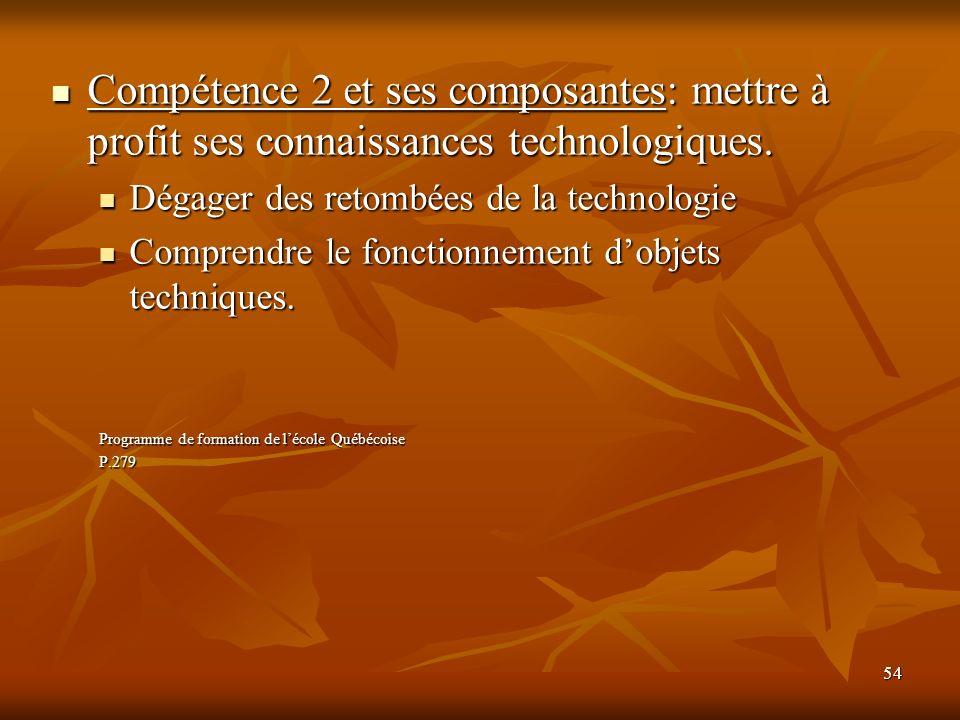 54 Compétence 2 et ses composantes: mettre à profit ses connaissances technologiques. Compétence 2 et ses composantes: mettre à profit ses connaissanc