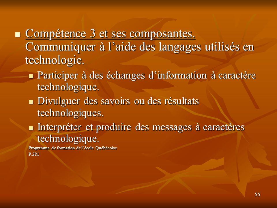 55 Compétence 3 et ses composantes. Communiquer à laide des langages utilisés en technologie. Compétence 3 et ses composantes. Communiquer à laide des