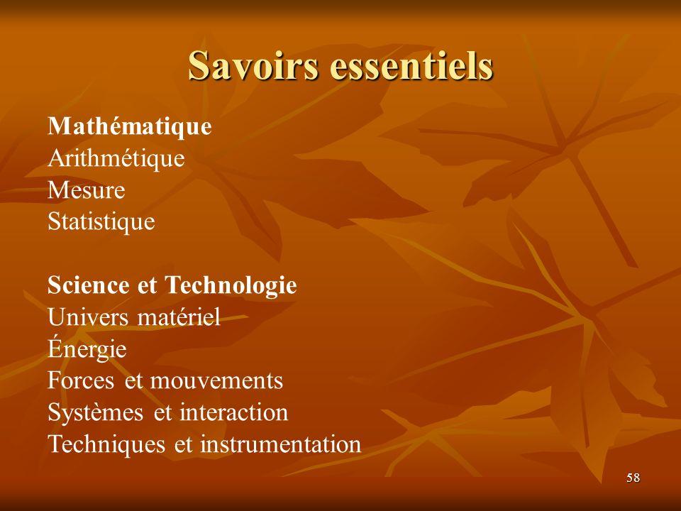 58 Savoirs essentiels Mathématique Arithmétique Mesure Statistique Science et Technologie Univers matériel Énergie Forces et mouvements Systèmes et in