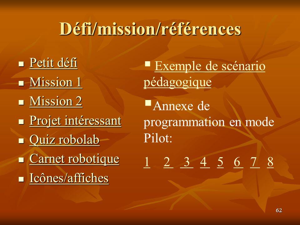 62 Défi/mission/références Petit défi Petit défi Petit défi Petit défi Mission 1 Mission 1 Mission 1 Mission 1 Mission 2 Mission 2 Mission 2 Mission 2