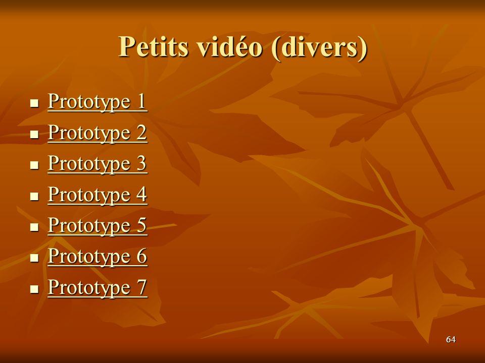 64 Petits vidéo (divers) Prototype 1 Prototype 1 Prototype 1 Prototype 1 Prototype 2 Prototype 2 Prototype 2 Prototype 2 Prototype 3 Prototype 3 Proto