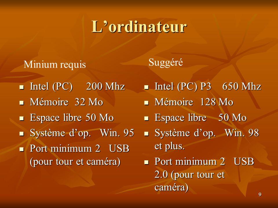 9 Lordinateur Intel (PC) 200 Mhz Intel (PC) 200 Mhz Mémoire 32 Mo Mémoire 32 Mo Espace libre 50 Mo Espace libre 50 Mo Système dop. Win. 95 Système dop