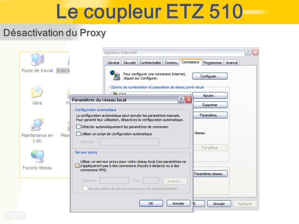 Le coupleur ETZ 510 Désactivation du Proxy