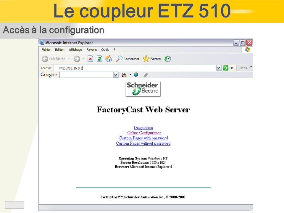 Le coupleur ETZ 510 Accès à la configuration