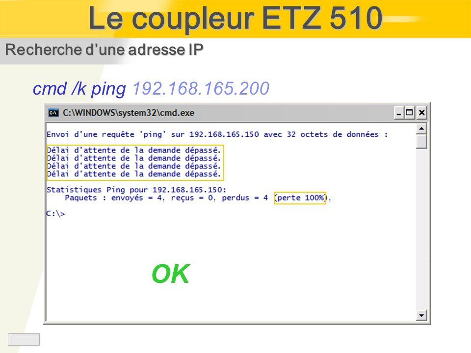 Recherche dune adresse IP cmd /k ping 192.168.165.200 OK