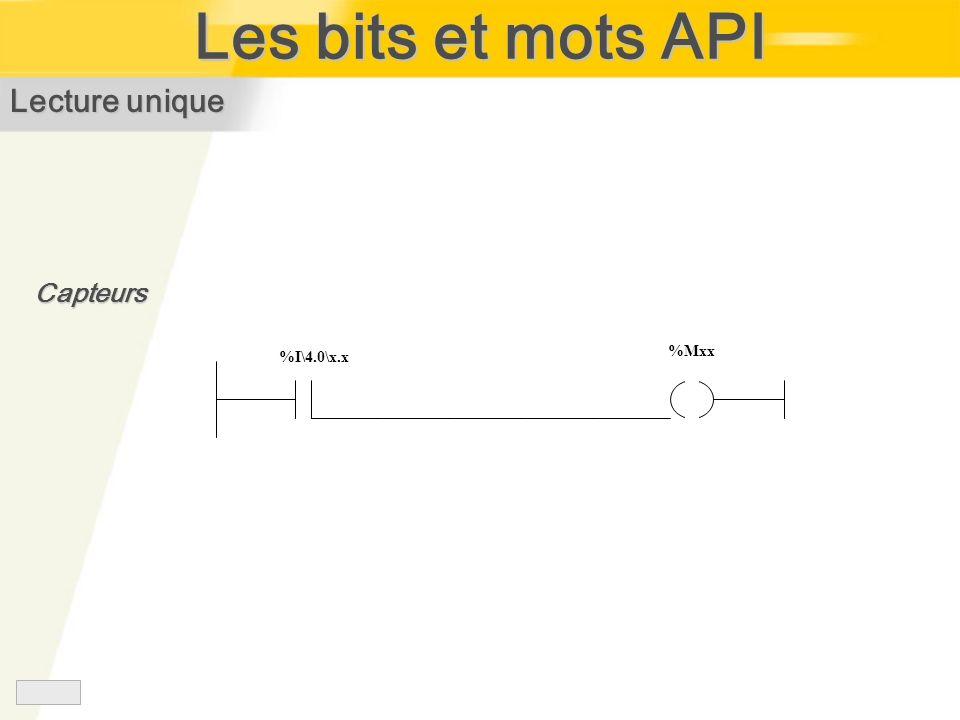 Les bits et mots API %I\4.0\x.x %Mxx Lecture unique Capteurs
