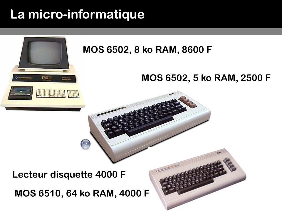 La micro-informatique 1981 IBM PC 5150 Personal Computer Intel 8088 à 4.77 MHz 64 Ko de Ram, 40 Ko de Rom, lecteur de disquettes 5 25 système d exploitation PC-DOS 1.0 3000 $ Uniformisation des matériels et logiciels