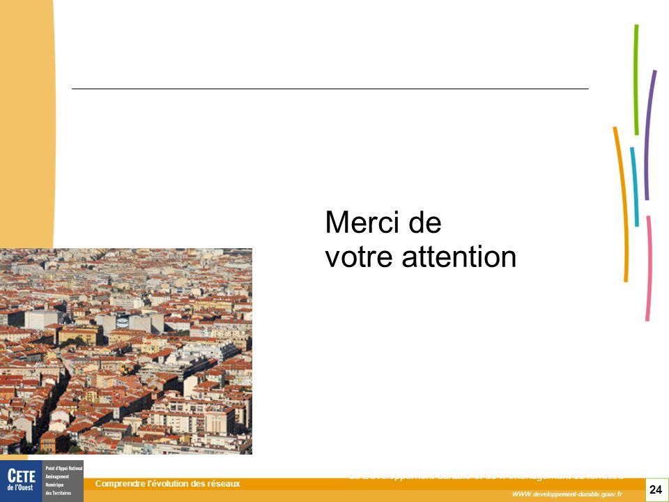 Comprendre l évolution des réseaux 24 WWW.developpement-durable.gouv.fr Ministère de l Écologie, de l Énergie, du Développement durable et de l Aménagement du territoire Merci de votre attention