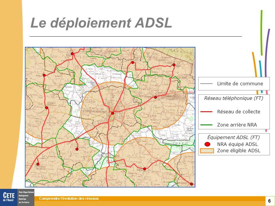 Comprendre l évolution des réseaux 6 Le déploiement ADSL Équipement ADSL (FT) Réseau téléphonique (FT) Limite de commune Réseau de collecte Zone arrière NRA NRA équipé ADSL Zone éligible ADSL