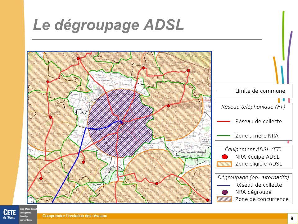 Comprendre l évolution des réseaux 10 Le dégroupage ADSL : de 2004 à 2011 répartiteur équipé ADSL répartiteur dégroupé Réseaux dinitiative publique Fin 2011 8,6 millions de lignes en dégroupage total enjeu : la concurrence Compétitivité : plus de services pour le plus grand nombre Source carto ARIASE