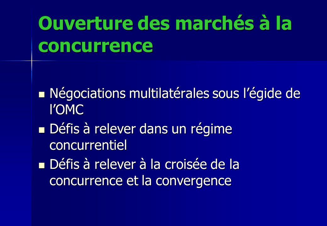 Ouverture des marchés à la concurrence Négociations multilatérales sous légide de lOMC Négociations multilatérales sous légide de lOMC Défis à relever dans un régime concurrentiel Défis à relever dans un régime concurrentiel Défis à relever à la croisée de la concurrence et la convergence Défis à relever à la croisée de la concurrence et la convergence