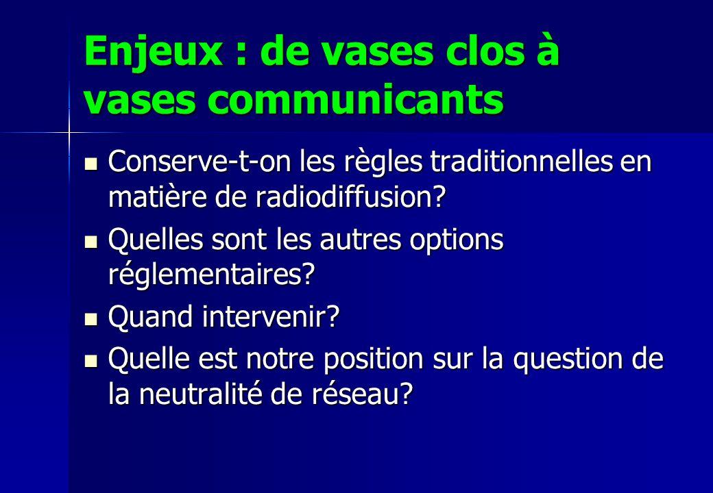 Enjeux : de vases clos à vases communicants Conserve-t-on les règles traditionnelles en matière de radiodiffusion? Conserve-t-on les règles traditionn