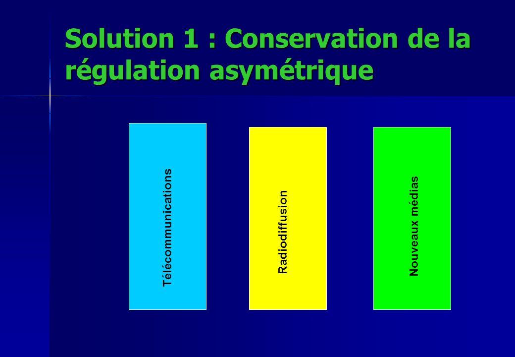 Solution 1 : Conservation de la régulation asymétrique Télécommunications Radiodiffusion Nouveaux médias
