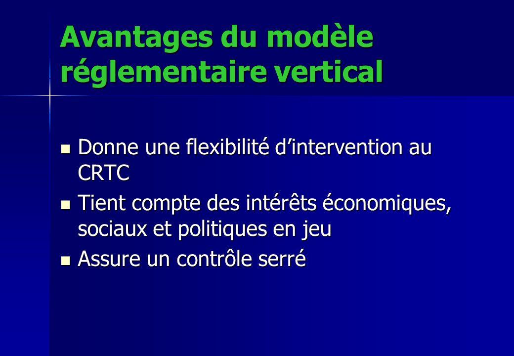 Avantages du modèle réglementaire vertical Donne une flexibilité dintervention au CRTC Donne une flexibilité dintervention au CRTC Tient compte des in
