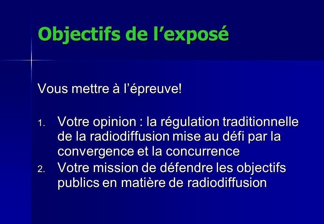 Objectifs de lexposé Vous mettre à lépreuve! 1. Votre opinion : la régulation traditionnelle de la radiodiffusion mise au défi par la convergence et l