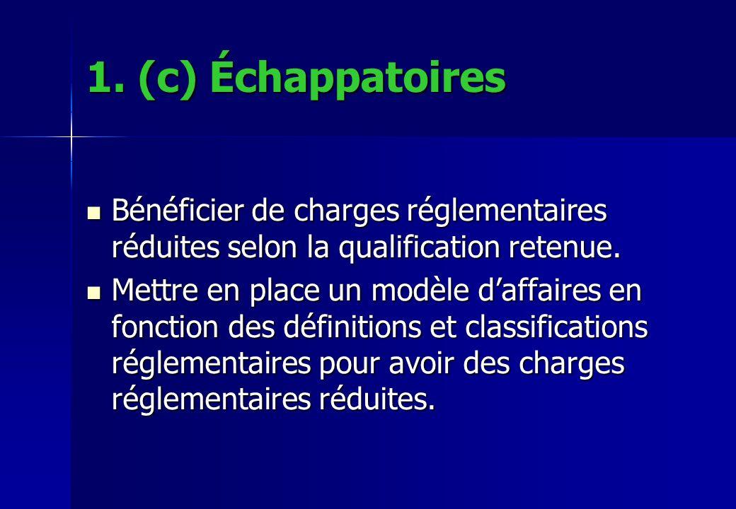 1. (c) Échappatoires Bénéficier de charges réglementaires réduites selon la qualification retenue.