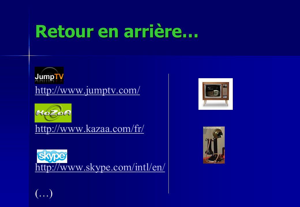 Retour en arrière… http://www.jumptv.com/ http://www.kazaa.com/fr/ http://www.skype.com/intl/en/ (…)