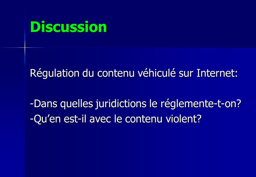 Discussion Régulation du contenu véhiculé sur Internet: -Dans quelles juridictions le réglemente-t-on? -Quen est-il avec le contenu violent?