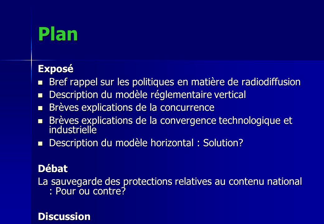Plan Exposé Bref rappel sur les politiques en matière de radiodiffusion Bref rappel sur les politiques en matière de radiodiffusion Description du mod
