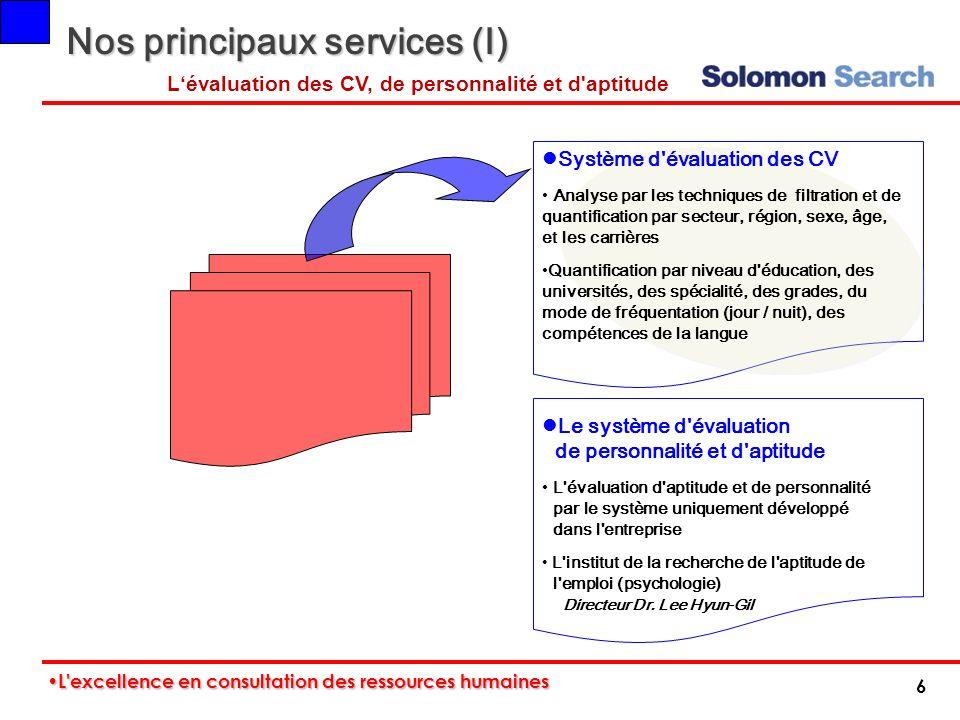 Nos principaux services (I) Le système d'évaluation de personnalité et d'aptitude L'évaluation d'aptitude et de personnalité par le système uniquement