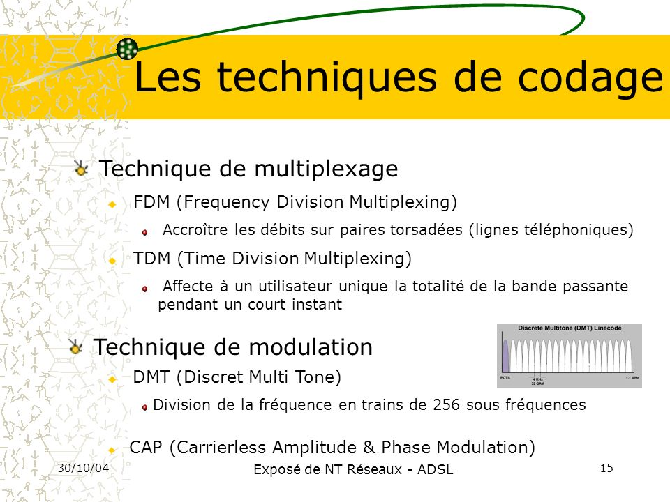 30/10/04 Exposé de NT Réseaux - ADSL 15 Les techniques de codage Technique de modulation Technique de multiplexage u FDM (Frequency Division Multiplex