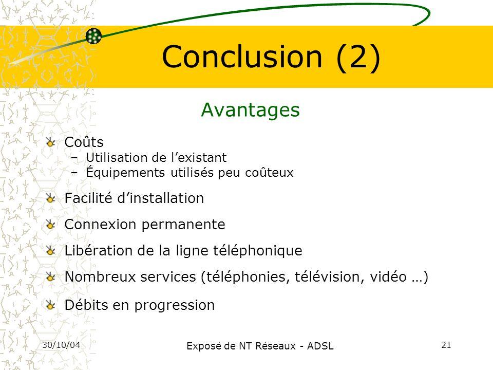 30/10/04 Exposé de NT Réseaux - ADSL 21 Conclusion (2) Avantages Coûts –Utilisation de lexistant –Équipements utilisés peu coûteux Facilité dinstallat