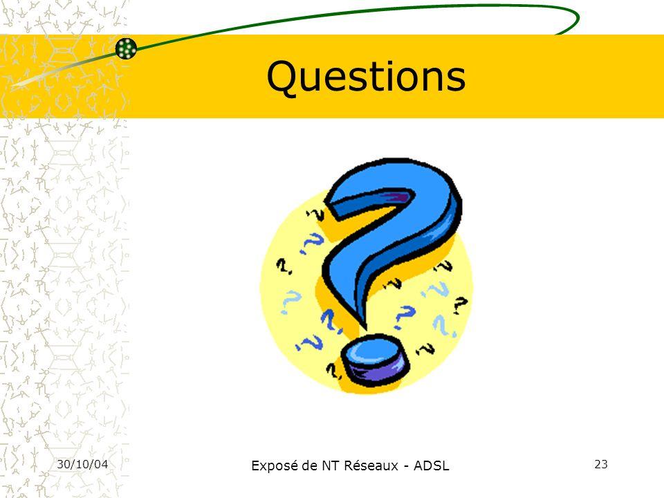 30/10/04 Exposé de NT Réseaux - ADSL 23 Questions