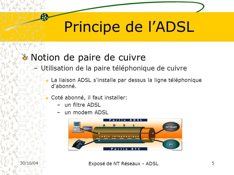 30/10/04 Exposé de NT Réseaux - ADSL 6 Principe de lADSL (2) Notion asymétrie de la ligne u 3 canaux de transmission (multiplexage) Flux montant : Emission des données Flux descendant : Réception des données Canal analogique : RTC Internet Voix Liaison téléphonique Canaux numériques