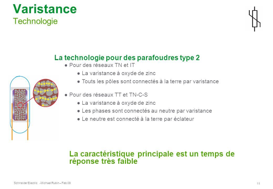 Schneider Electric 11 -Michael Rubin – Feb.09 Varistance Technologie La technologie pour des parafoudres type 2 Pour des réseaux TN et IT La varistanc
