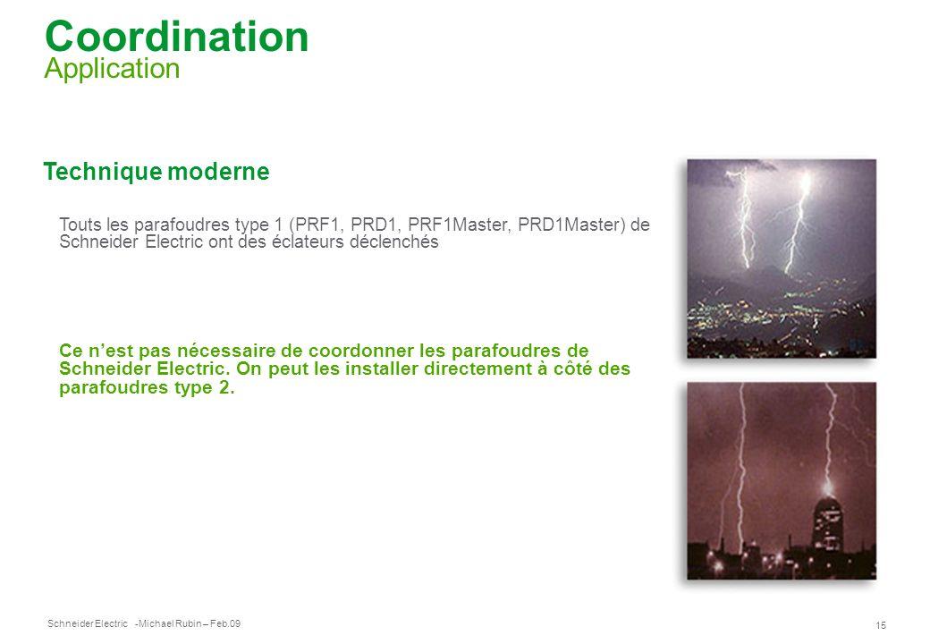 Schneider Electric 15 -Michael Rubin – Feb.09 Coordination Application Technique moderne Touts les parafoudres type 1 (PRF1, PRD1, PRF1Master, PRD1Mas