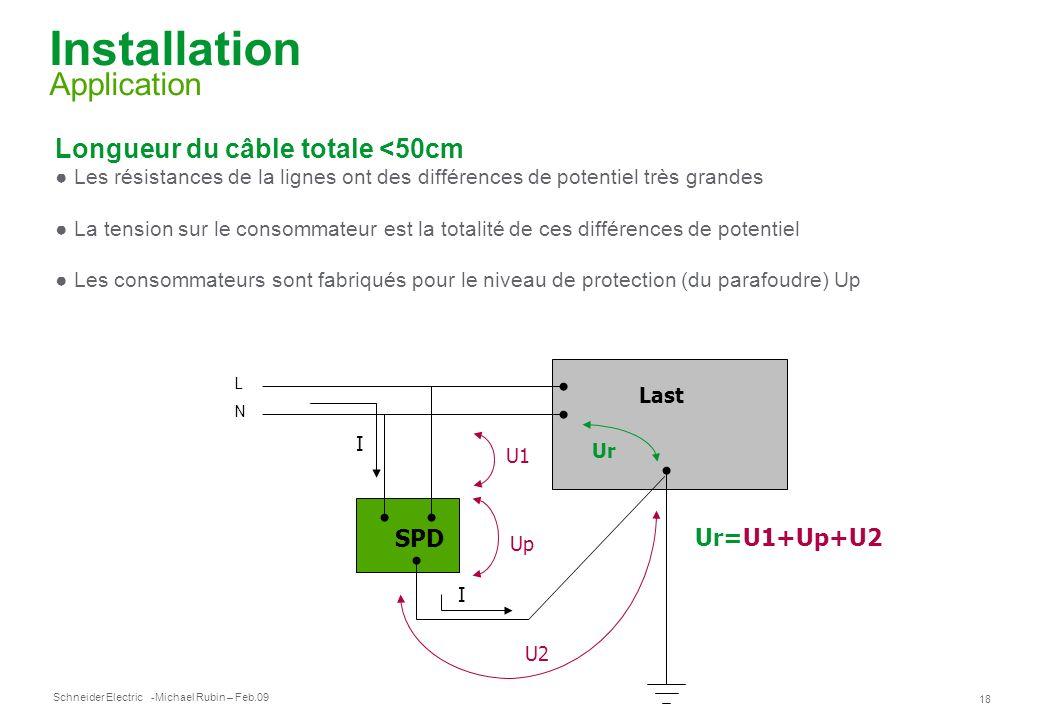 Schneider Electric 18 -Michael Rubin – Feb.09 Installation Application Longueur du câble totale <50cm Les résistances de la lignes ont des différences