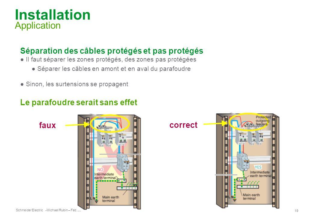 Schneider Electric 19 -Michael Rubin – Feb.09 Installation Application Séparation des câbles protégés et pas protégés Il faut séparer les zones protég