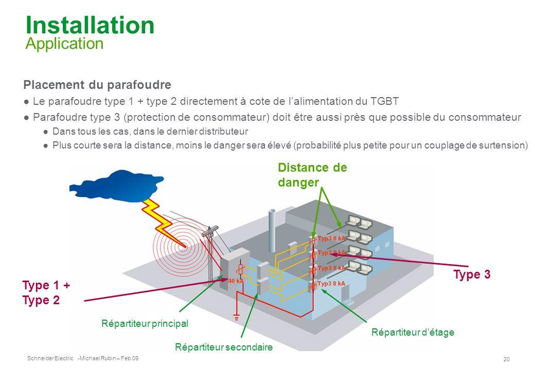 Schneider Electric 20 -Michael Rubin – Feb.09 Installation Application Placement du parafoudre Le parafoudre type 1 + type 2 directement à cote de lal
