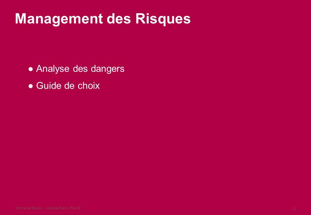 Schneider Electric 23 -Michael Rubin – Feb.09 Management des Risques Analyse des dangers Guide de choix