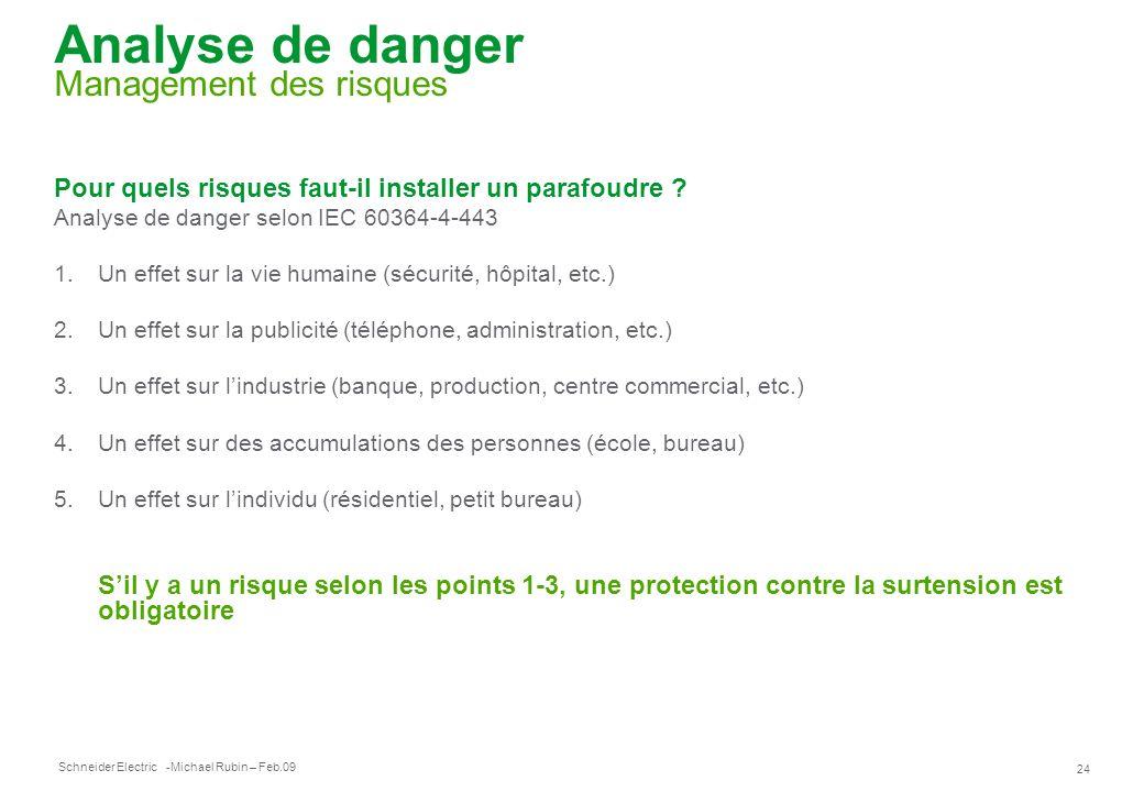 Schneider Electric 24 -Michael Rubin – Feb.09 Analyse de danger Management des risques Pour quels risques faut-il installer un parafoudre ? Analyse de