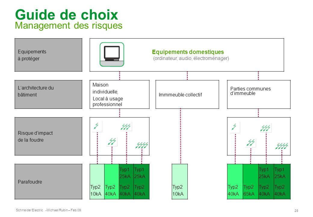 Schneider Electric 28 -Michael Rubin – Feb.09 Guide de choix Management des risques Equipements à protéger Equipements domestiques (ordinateur, audio,