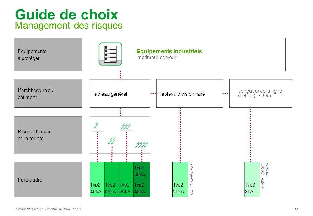 Schneider Electric 30 -Michael Rubin – Feb.09 Guide de choix Management des risques Equipements à protéger Equipements industriels imprimeur, serveur
