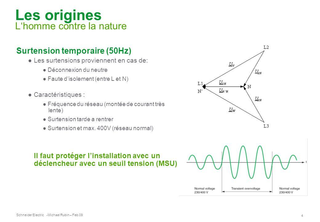 Schneider Electric 4 -Michael Rubin – Feb.09 Les origines Lhomme contre la nature Surtension temporaire (50Hz) Les surtensions proviennent en cas de: