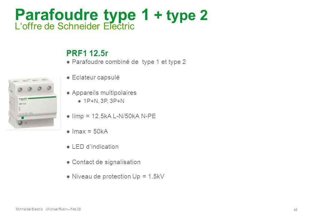 Schneider Electric 42 -Michael Rubin – Feb.09 Parafoudre type 1 + type 2 Loffre de Schneider Electric PRF1 12.5r Parafoudre combiné de type 1 et type