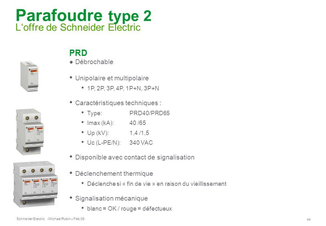 Schneider Electric 44 -Michael Rubin – Feb.09 Parafoudre type 2 Loffre de Schneider Electric PRD Débrochable Unipolaire et multipolaire 1P, 2P, 3P, 4P
